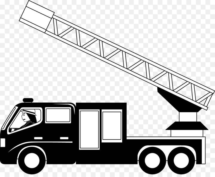 car fire engine truck black and white clip art - fire truck cliparts png download