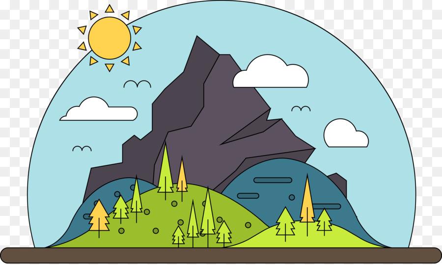 Kartun Pemandangan Gunung Kartun Vektor Gunung