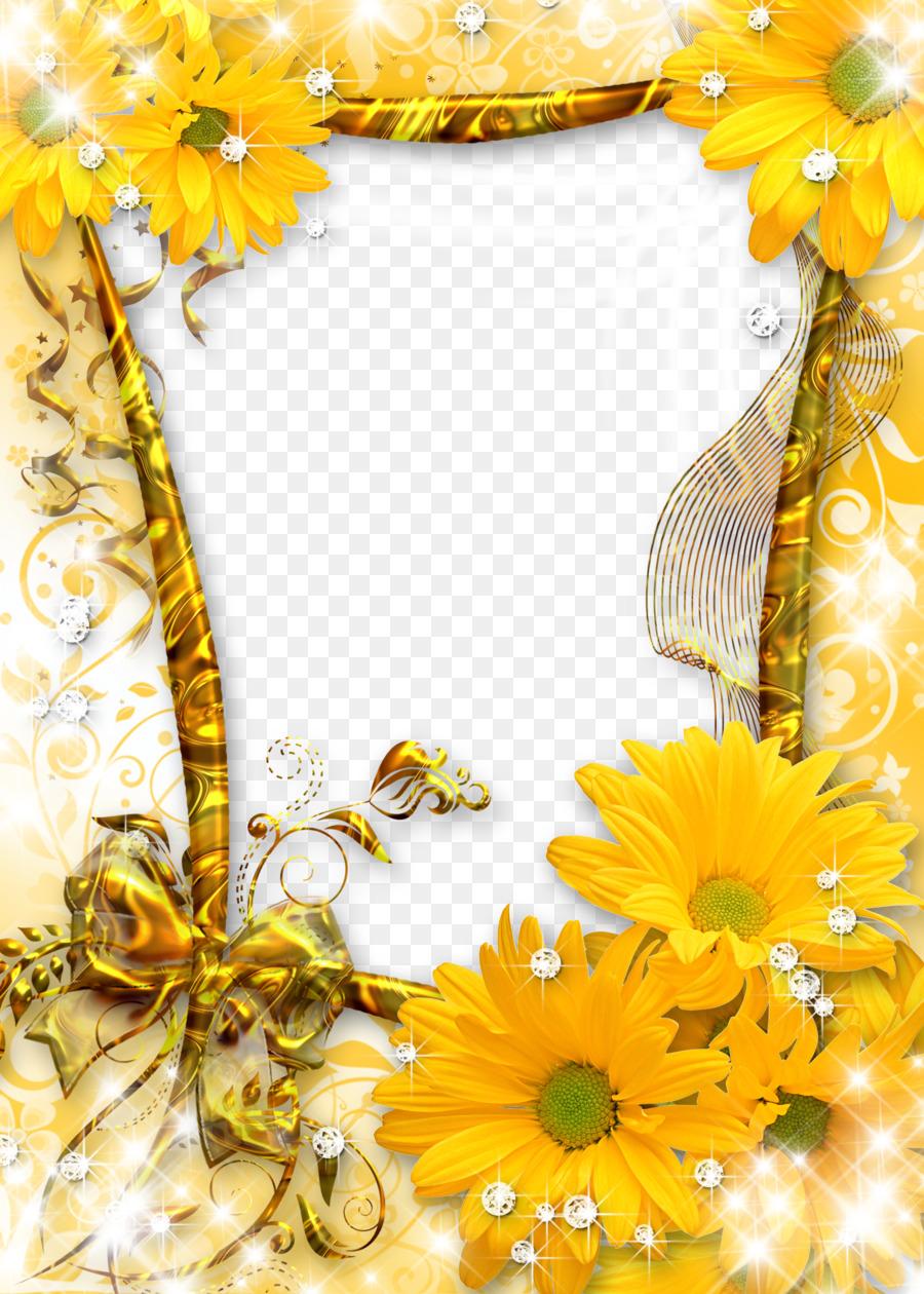 Picture frame Flower - Sunflower gold frame png download - 2785*3898 ...