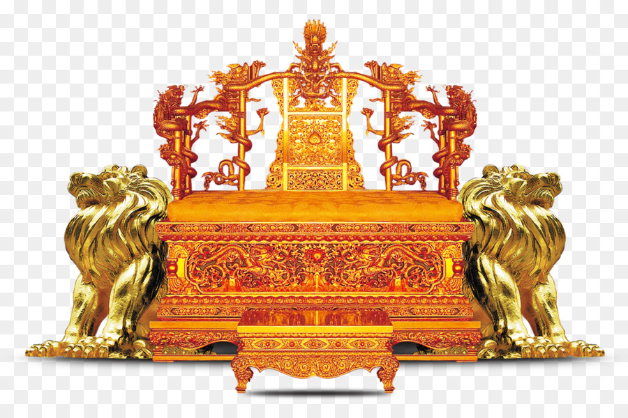 Forbidden City Emperor Of China Table Throne Chair   Golden Throne A Pair  Of Lions