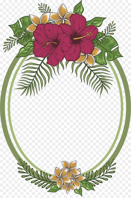 Simple Flower Wreath Drawing