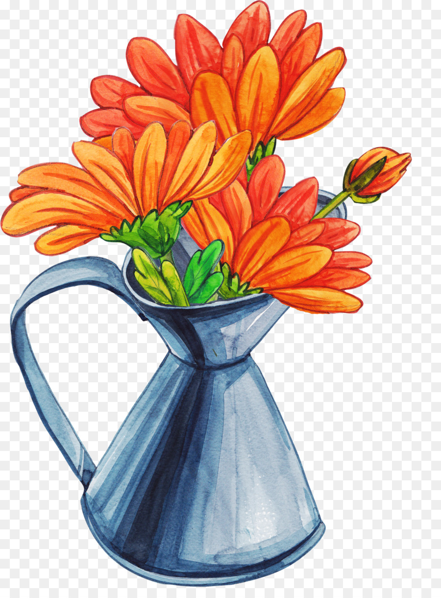 Vase Cartoon Flower Bouquet Daisy Vase Png Download 10531417