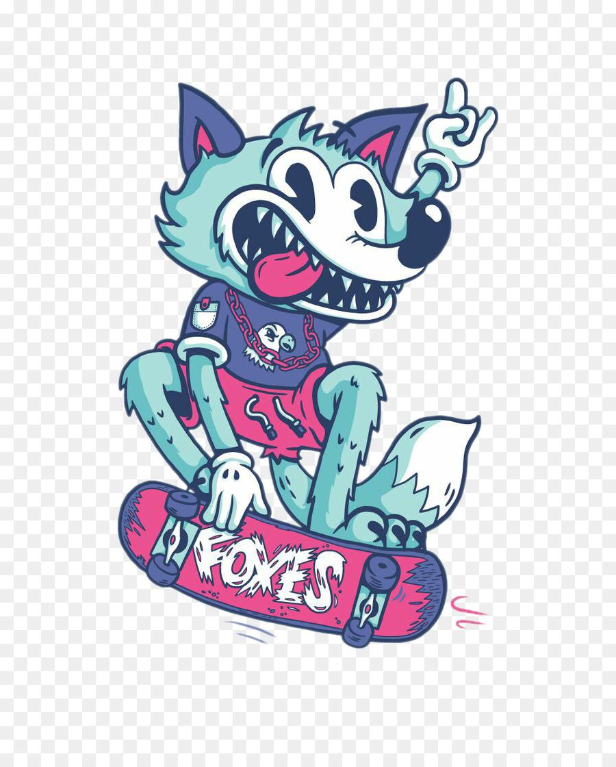 o desenho de caracteres ilustração skate cartoon lobo