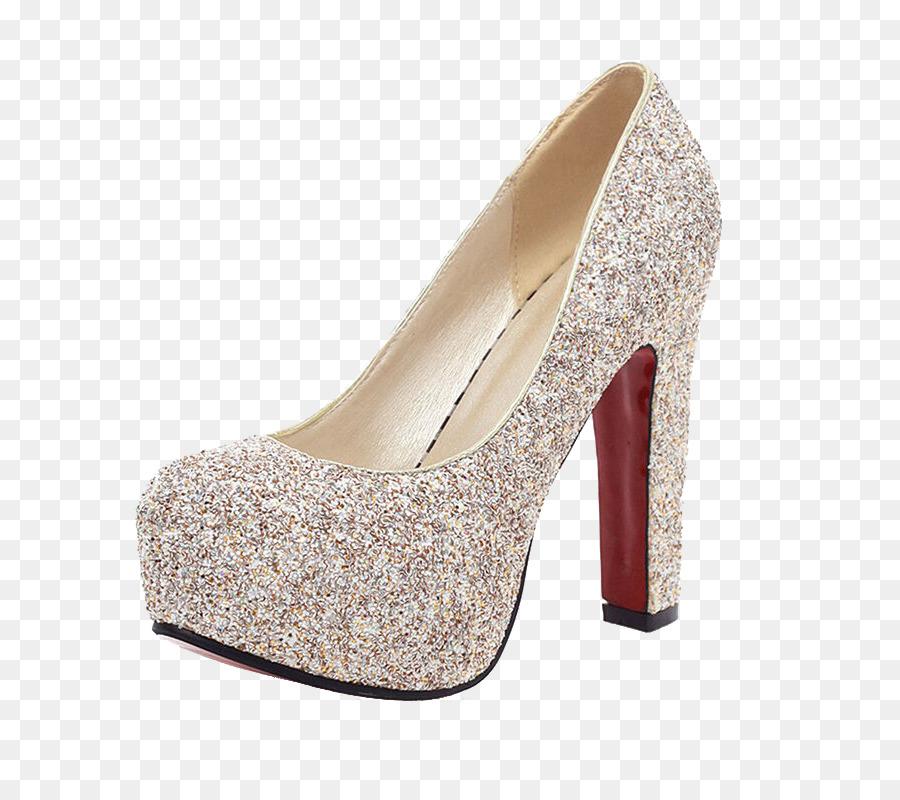High-heeled footwear Court shoe Wedding - Silver glitter heels png ...