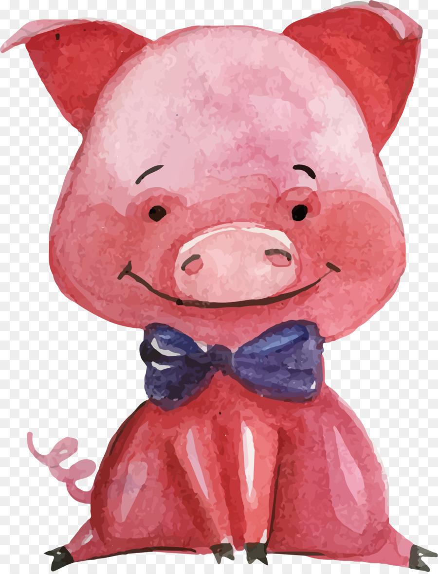 domestic pig miss piggy piglet illustration vector cute pink pig