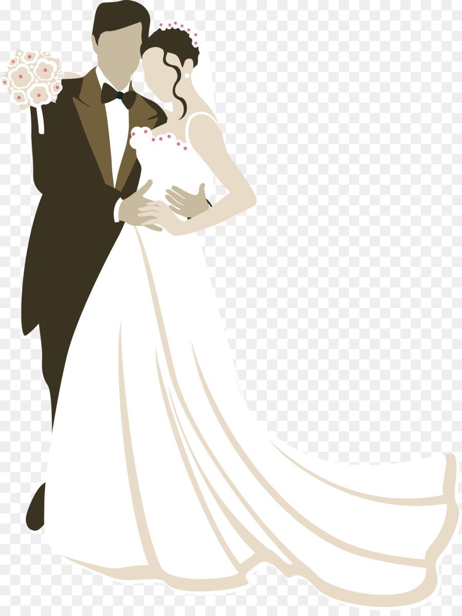 Wedding invitation Marriage Bridegroom - Vector bride and groom png ...