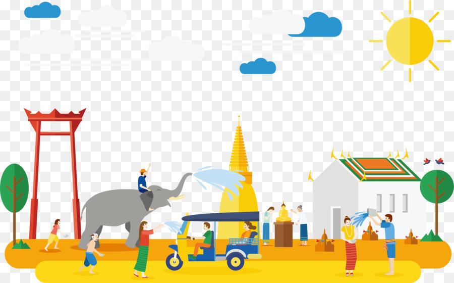 tourism in thailand songkran illustration yellow