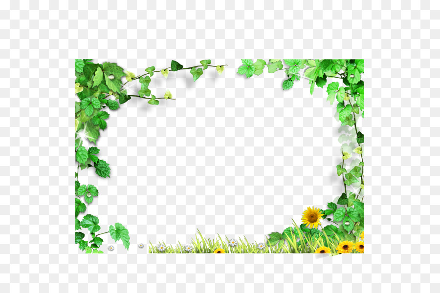 Template - Green leaves frame,Green leaves background border png ...