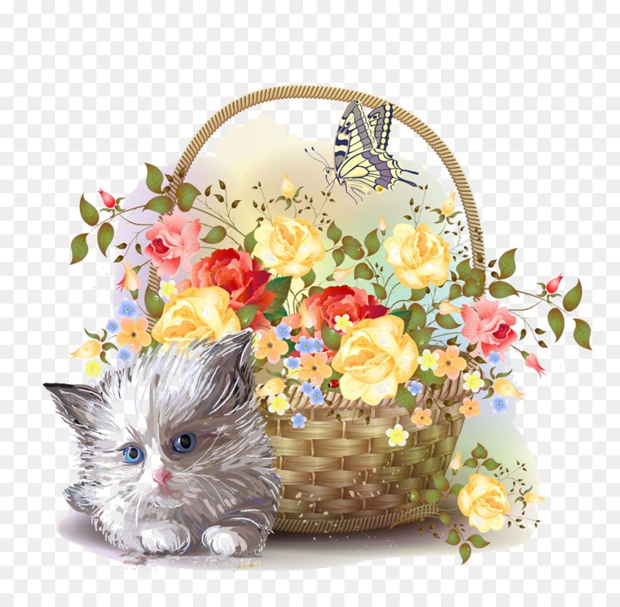 Kitten Basket Flower Clip art - Cat baskets edge png download - 1000 ...