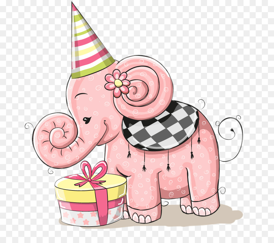 Birthday Card Greeting Card Gift Cute Little Pink Elephant Png