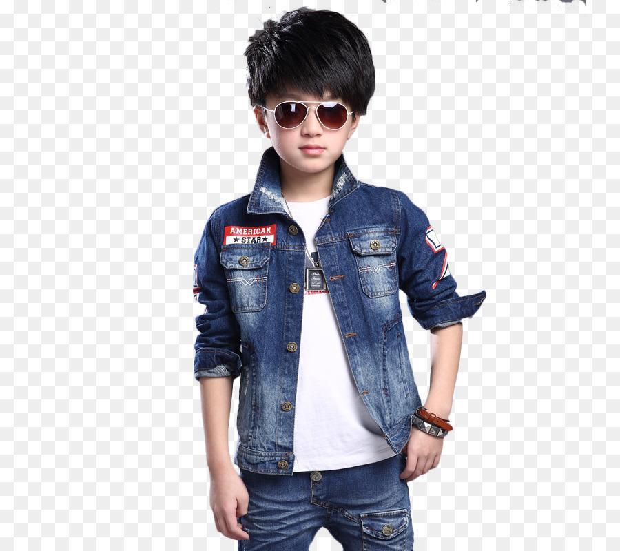 11da17ee6 T-shirt Denim Jacket Clothing - Wear denim jacket standing boy png ...