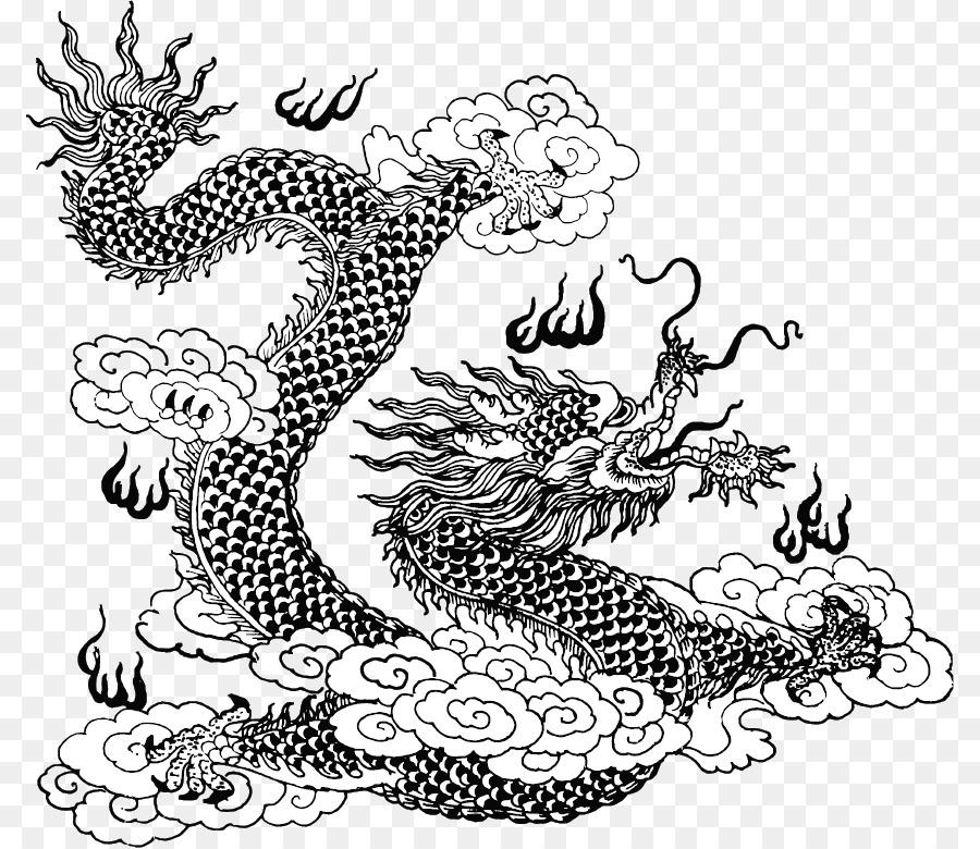 Dragón chino de la Línea de arte Mitología libro para Colorear ...
