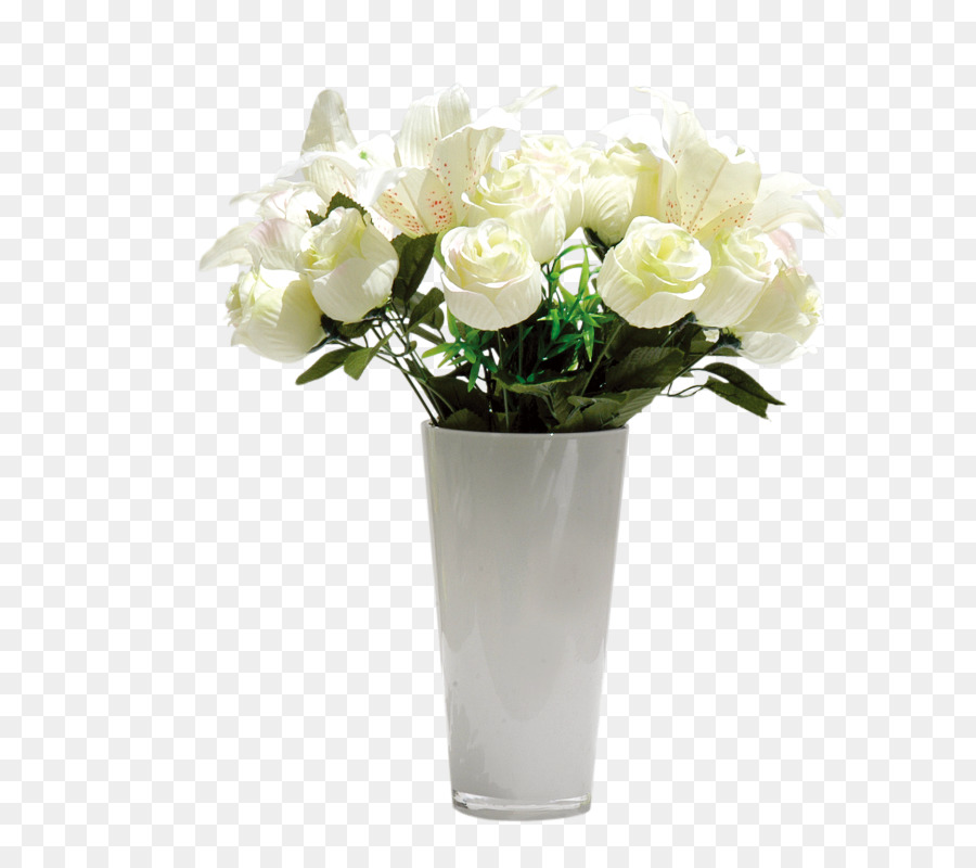 Flower Vase Floral Design White Roses Png Download 800800