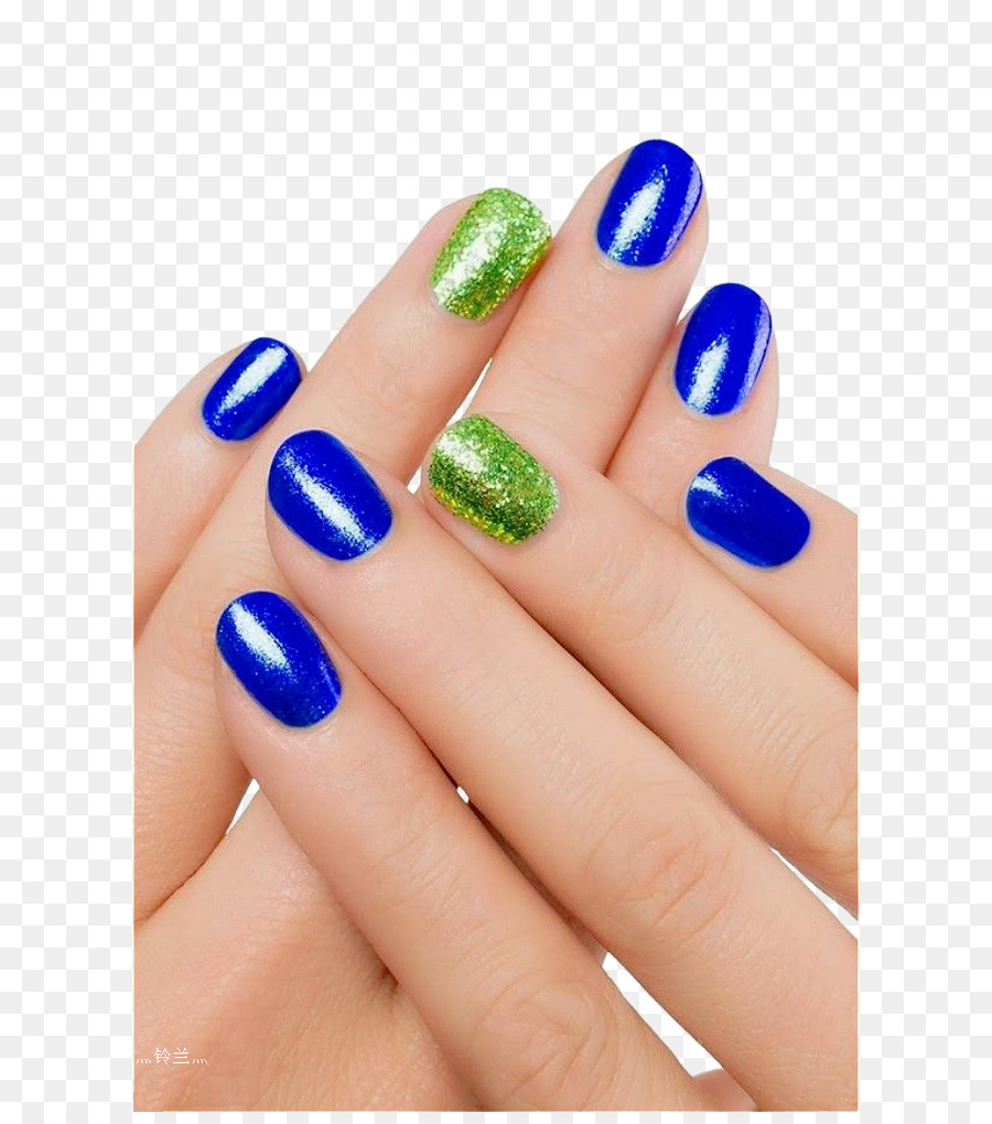 Nail art Blue nails Green - Nail Hand png download - 658*1009 - Free ...