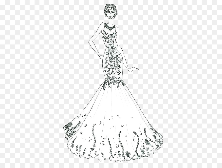 Wedding dress Ball gown Sketch - Costume design artwork png download ...