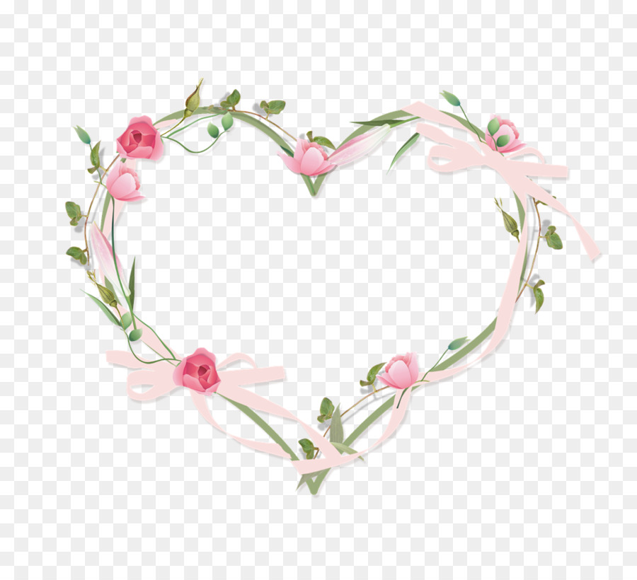 Picture Frame Heart Flower Rose Clip Art Floral Border