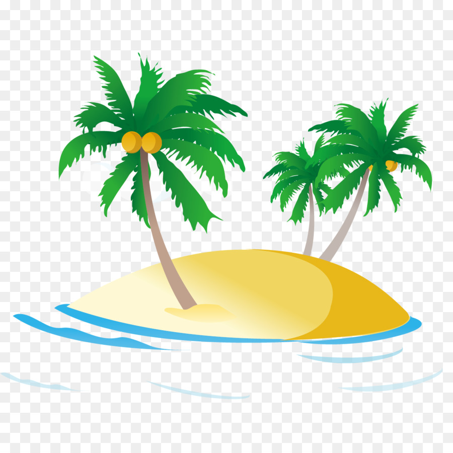 Video Cartoon Sea Beach Palm Tree
