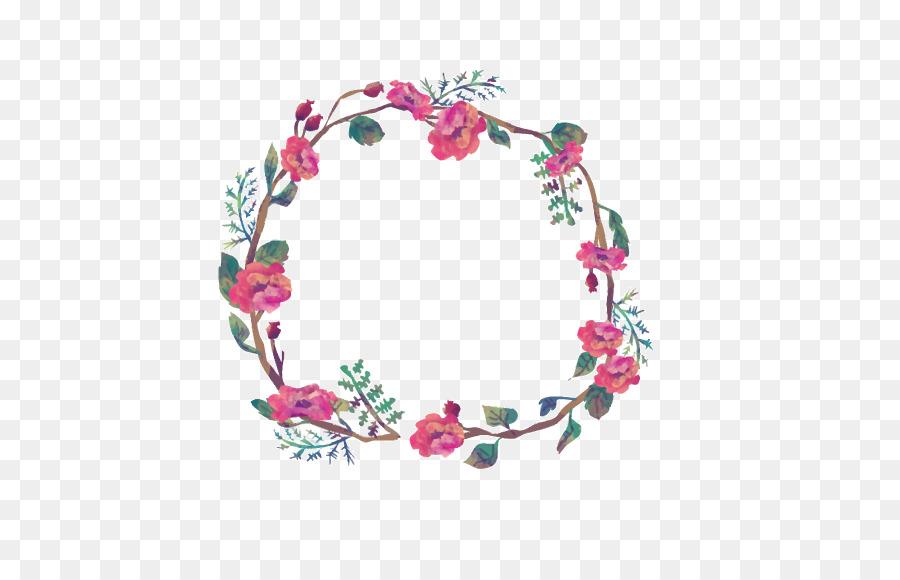 Flower Wreath Picture Frame Clip Art Vintage Garland Png