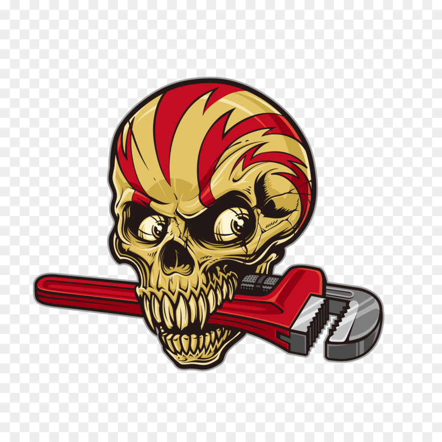 Car sticker decal skull wrench horror skull t shirt design