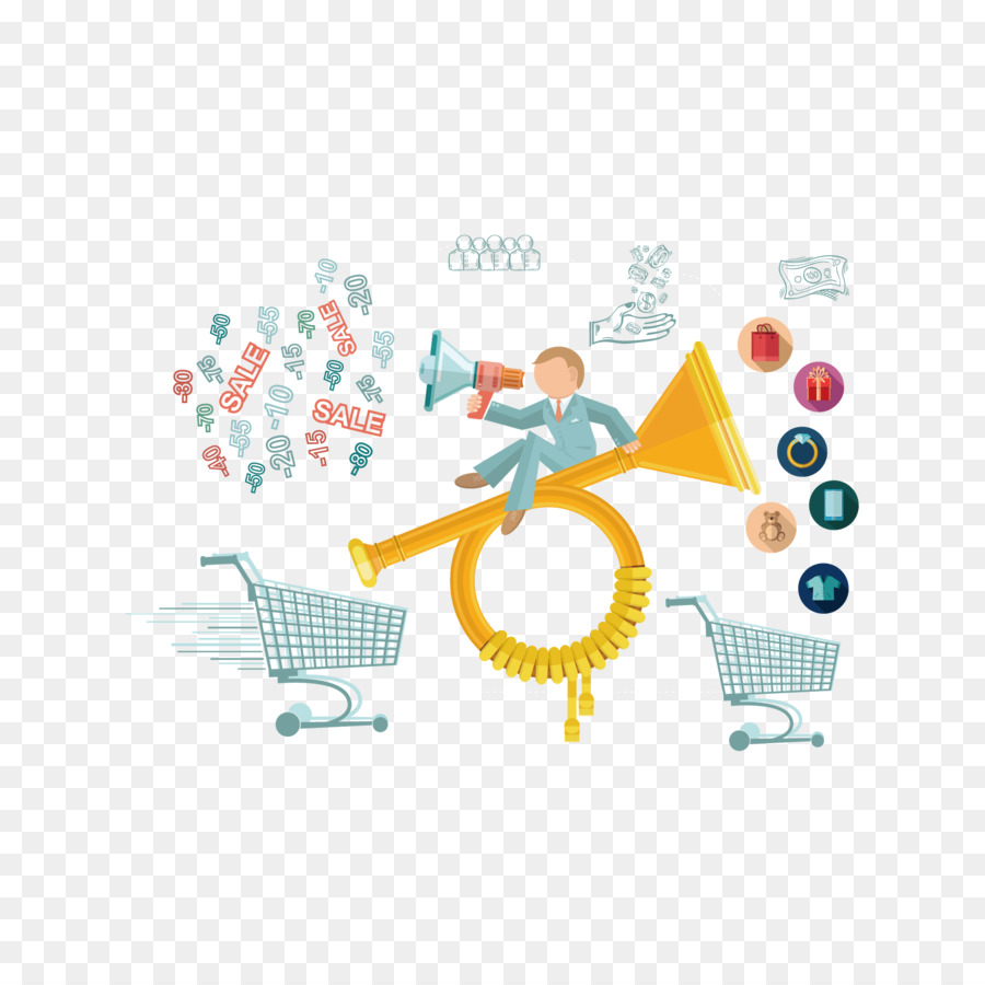 Infographic Illustration Vector Shopping Cart Speakers And People Diagram
