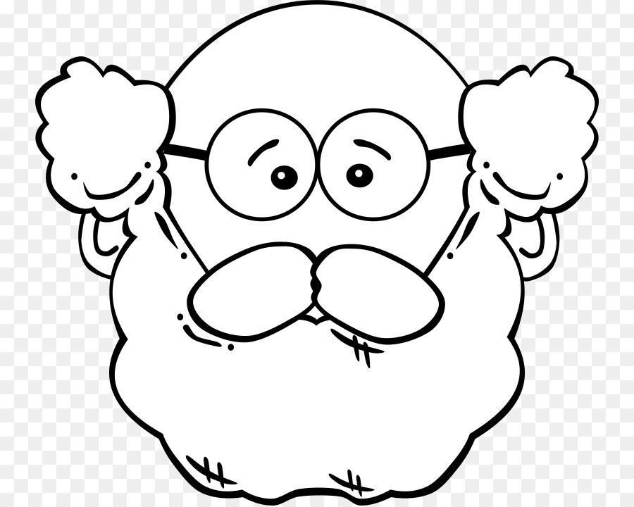 Man Mask Coloring Book Clip Art   White Bearded Grandfather