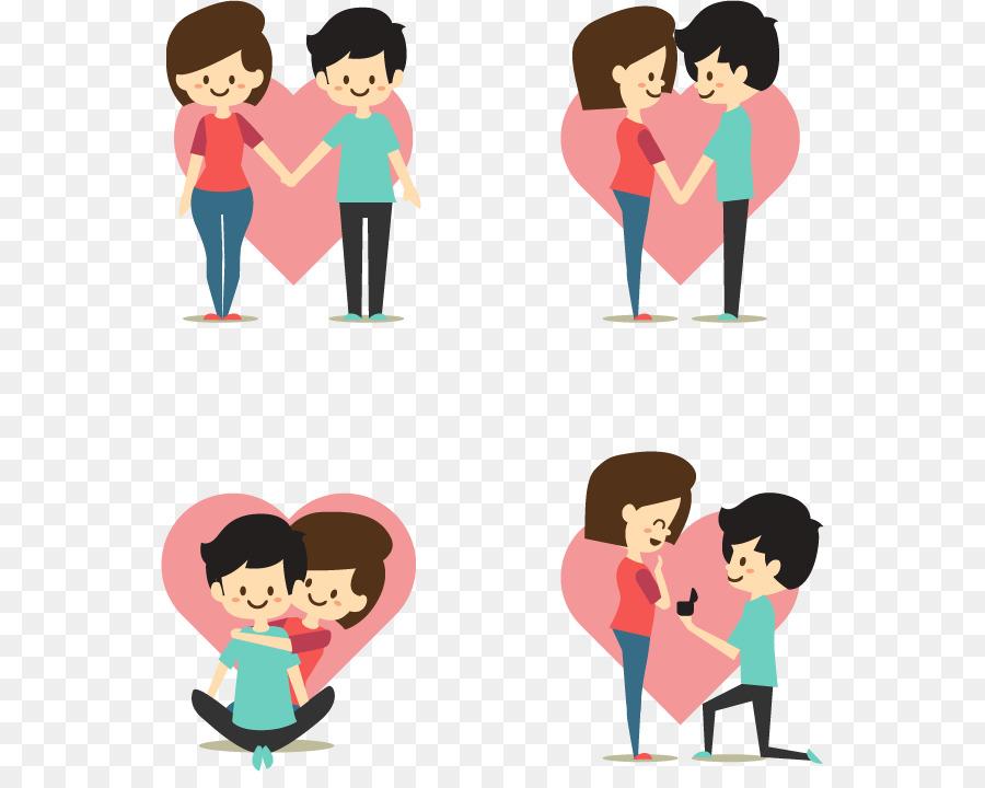 ilustração dos desenhos animados casal apaixonado transparente