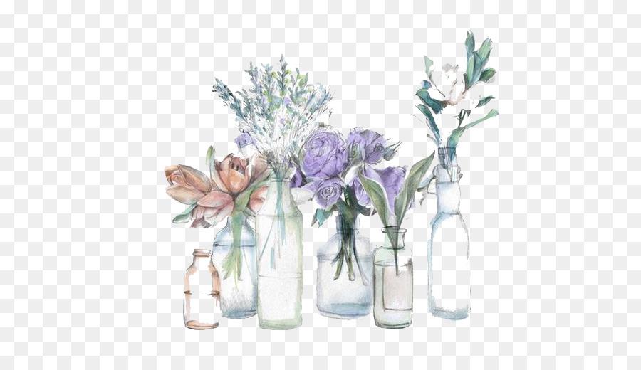 Flower Vase Watercolor Vase Png Download 559519 Free