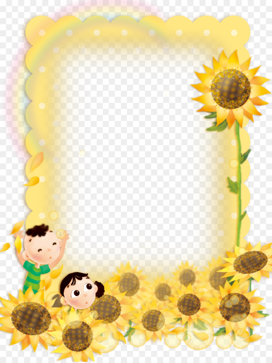 Picture frame - Cute child sunflower border background png download ...