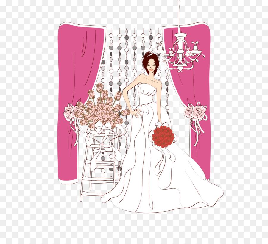 Novia moderna y Occidental de la boda vestido de Ilustración - La ...