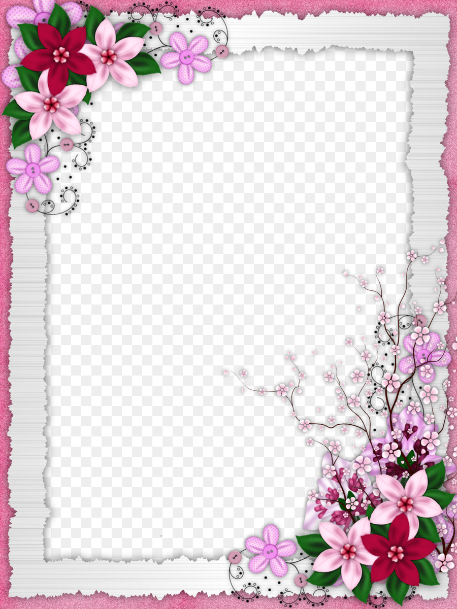 Flower Picture frame - Floral border design png download ...