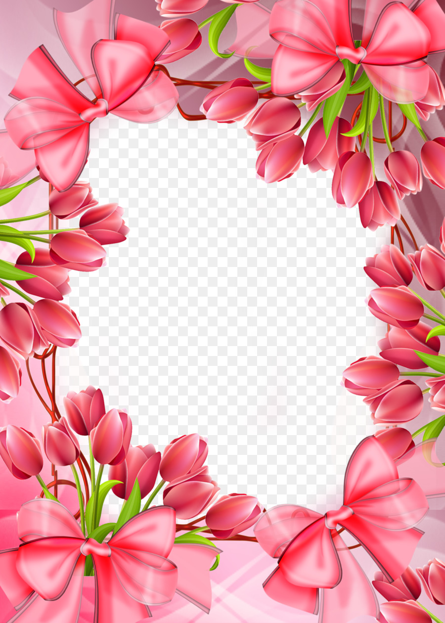 Picture Frame Rose Pink Flowers Tulip Tulip Flowers Border Png