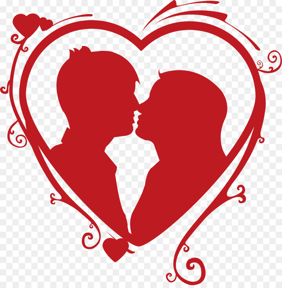 Heart Kiss Couple Love - Vector Red Love Kissing Couple -5503