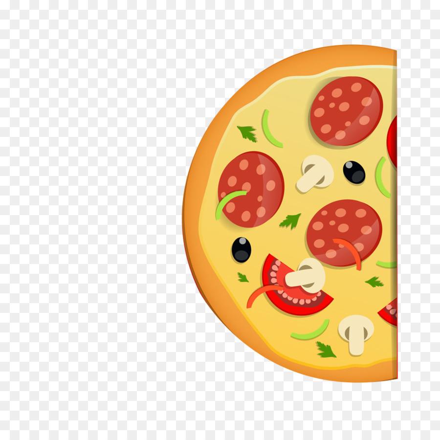 Pizza de la cocina italiana en la Plantilla de Menú - La mitad de la ...