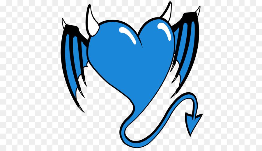 Boynuzlu şeytan şeytan Kalp Işareti Mavikalp şeklindeküçük