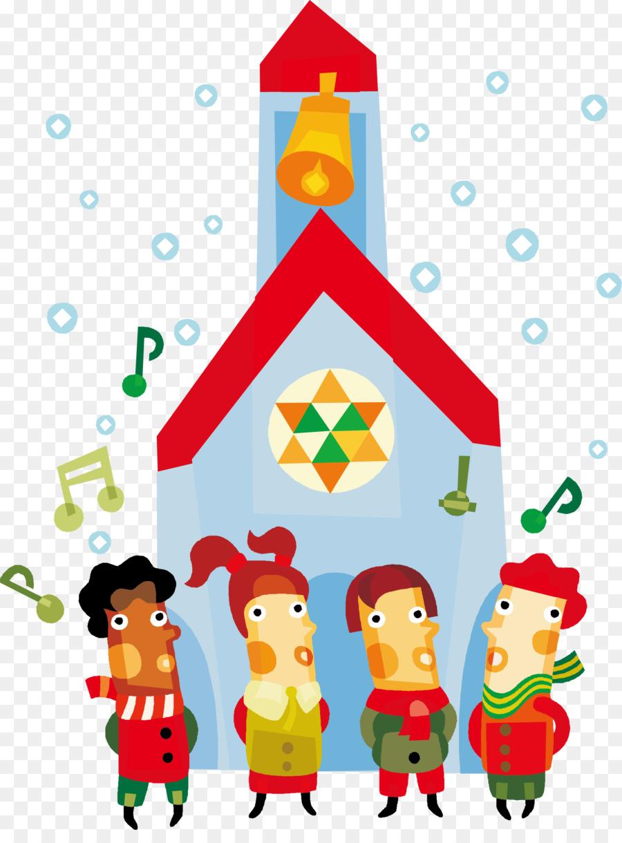 Christmas carol Child Clip art - Blue cartoon church kids png ...