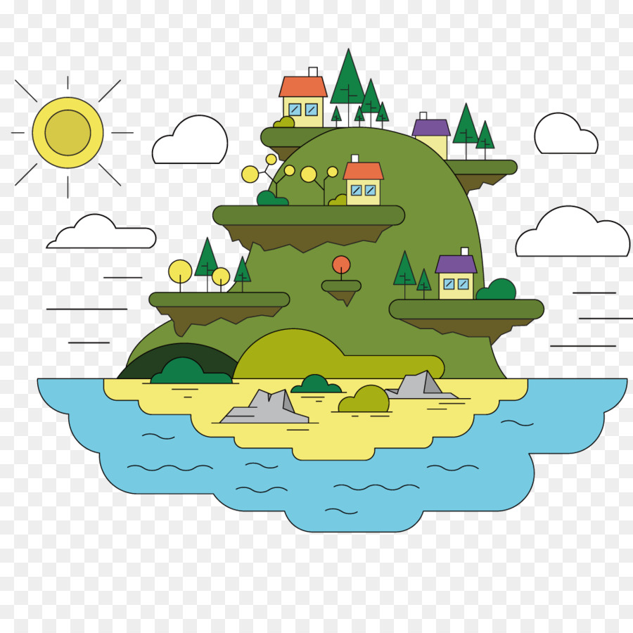 cartoon illustration - vector sea island png download - 1000*1000