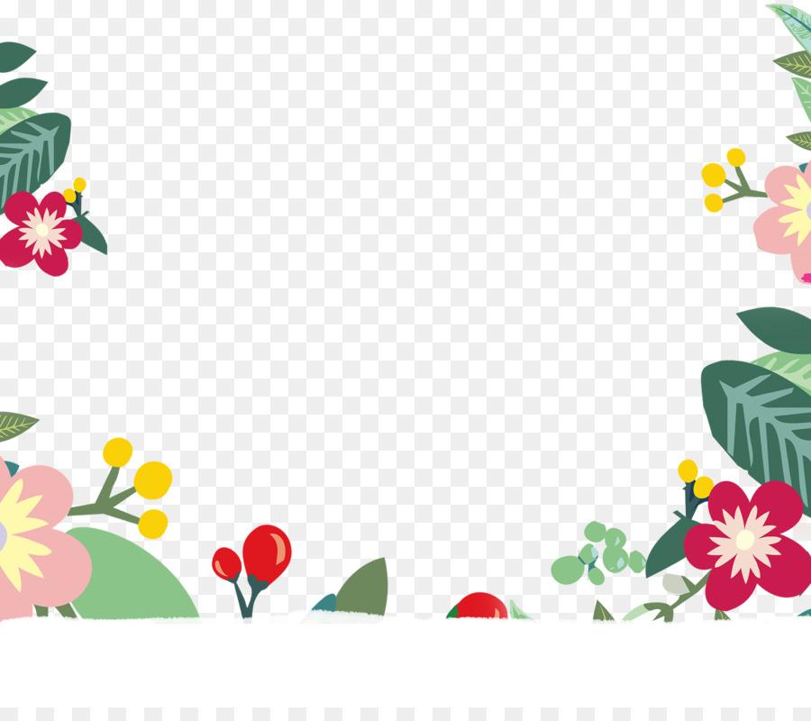 Floral design Flower Cartoon - Cartoon floral frame material png ...