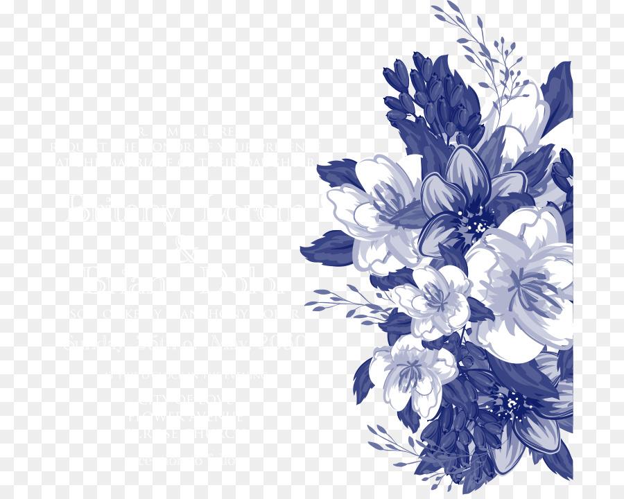 Wedding Invitation Floral Design Blue Flower Vector Blue Flowers