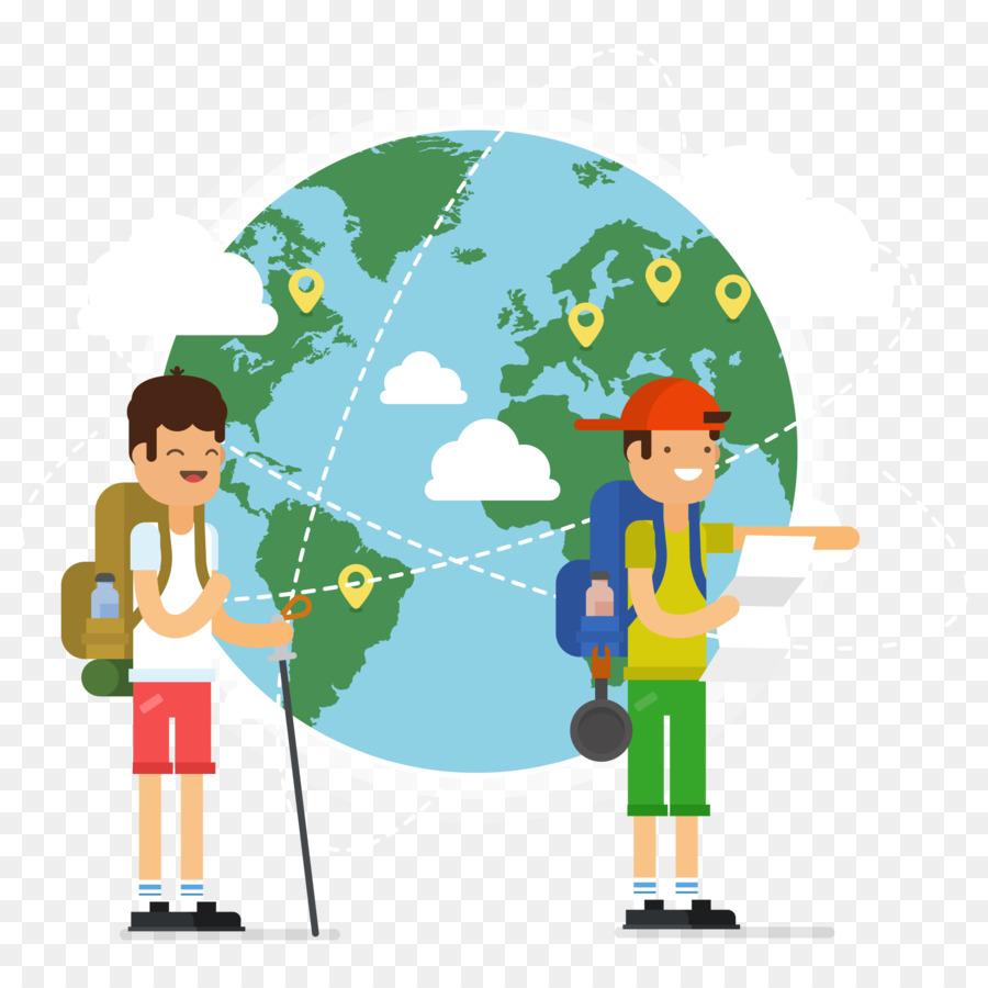 globe world map vector happy tourist and world map