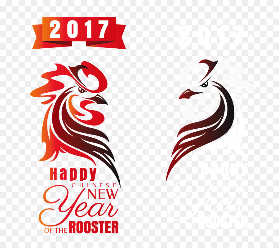 Rooster Chinese New Year Greeting card New Year card - Vector Happy ...