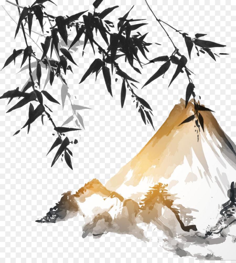 Ink Wash Painting Bamboo Japanese Painting Japan Ink