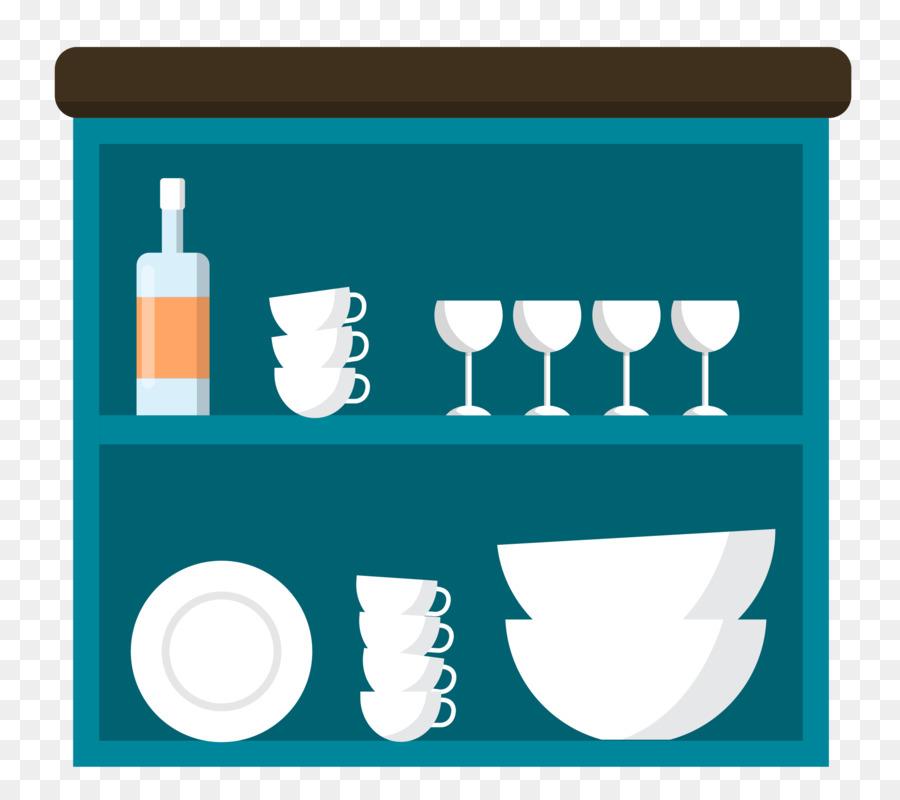 Kitchen Utensil Furniture Refrigerator Vector Blue Cupboard