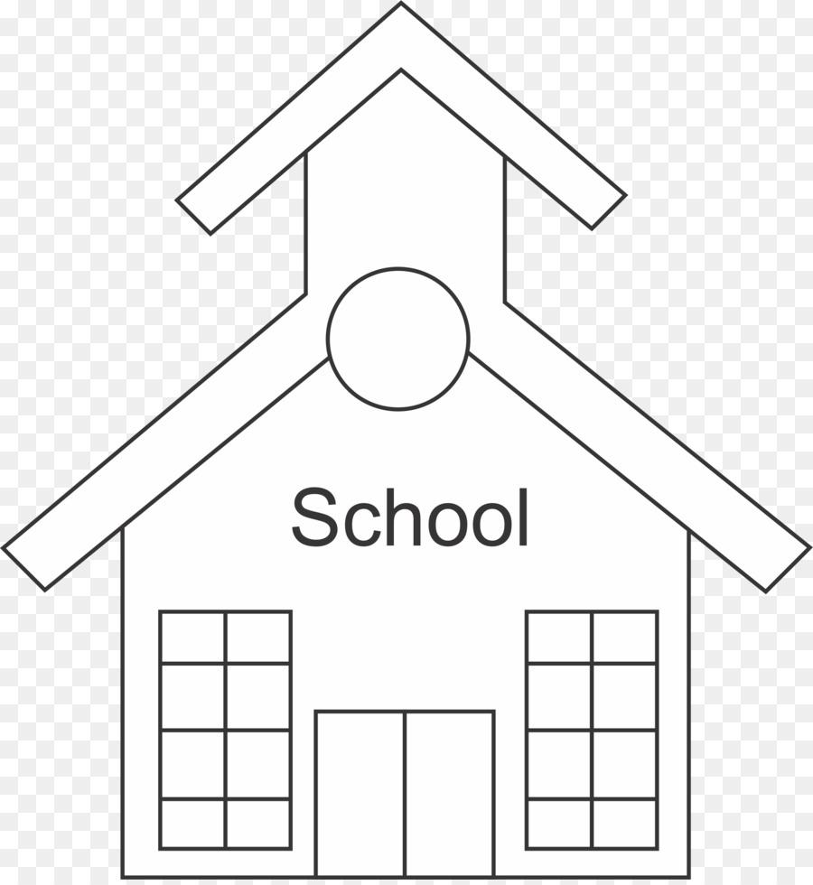 La escuela en blanco y Negro para Colorear libro Clip art - La ...