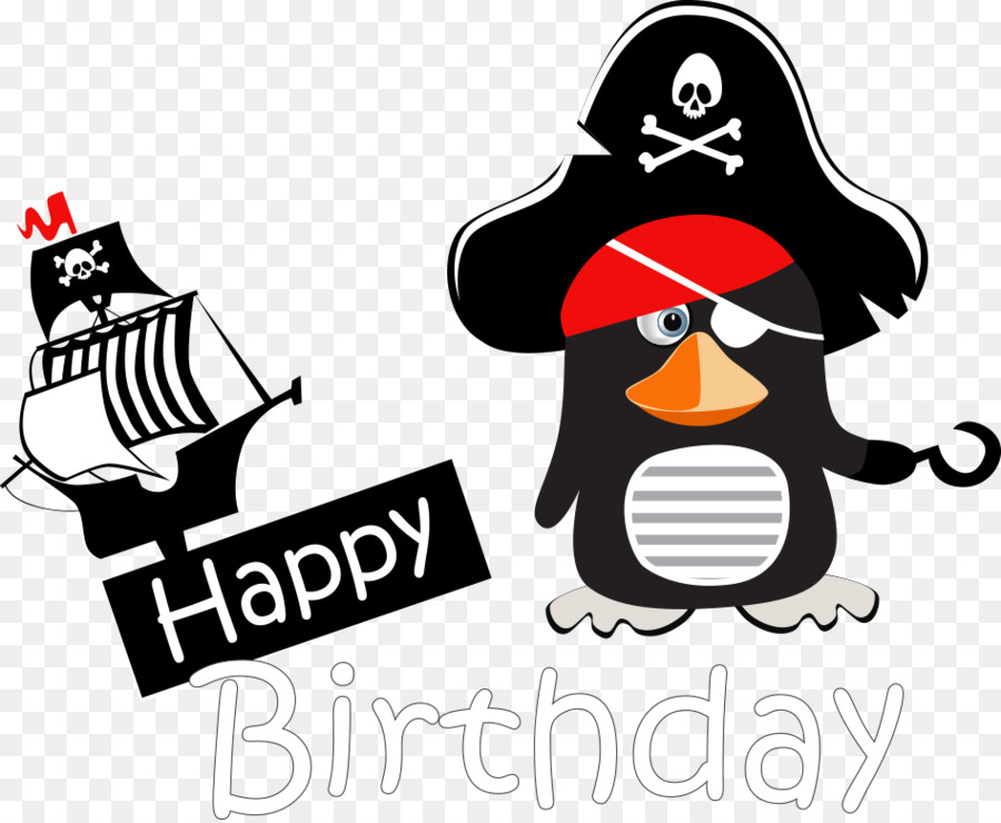 Greeting Card Happy Birthday To You Illustration Vector Pirate