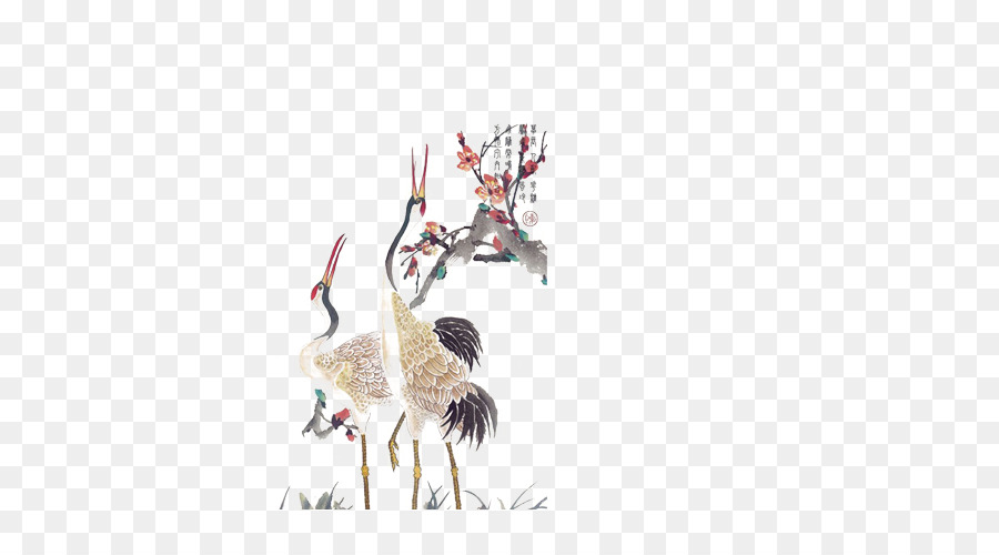 Red Crowned Crane Tattoo White Crane Png Download 500500 Free