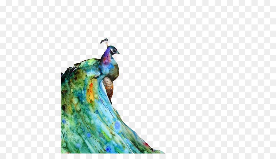 Suluboya Resim Tavus Kuşları Tuval Baskı Portresi Mürekkep Boyama