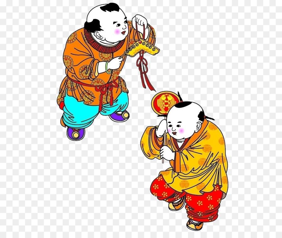 chinese new year clip art festive fuwa lucky boy