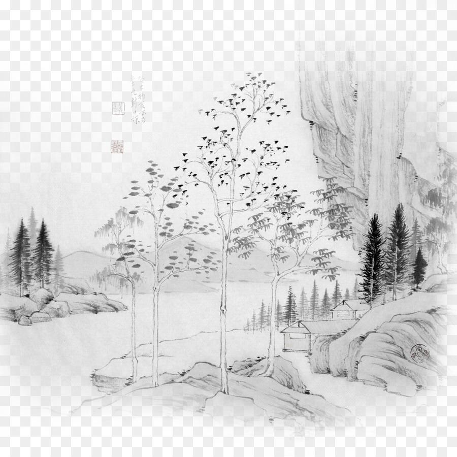 Mürekkep Boyama Shulin Bölge çin Resim Yıkayın Castle Creek Woods