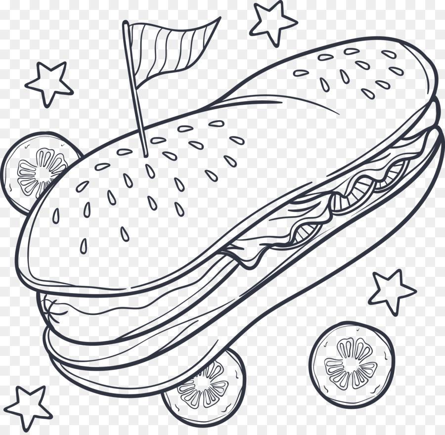 Hot dog Hamburger Fast food French fries Coloring book - Hand ...