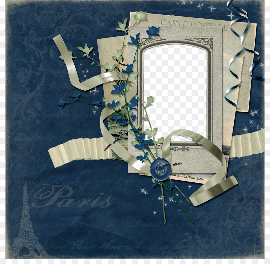 Picture frame Collage - Vintage Blue Frame png download - 864*864 ...